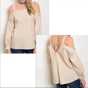 ✨ Love Riche |Long Sleeve Cold Shoulder Cotton Top